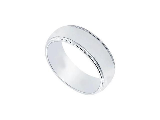 Platinum 6MM Non-Comfort Fit Milgrain Wedding Band