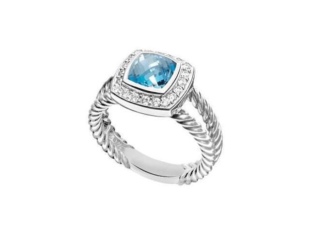 Blue Topaz and Diamond Rope Ring  14K White Gold - 5.50 CT TGW