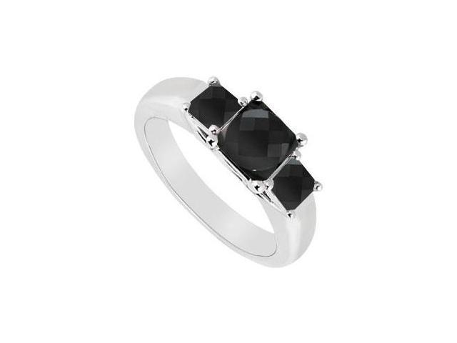 14K White Gold  Princess Prong Set Black Diamond Three Stone Ring  0.50 CT TDW
