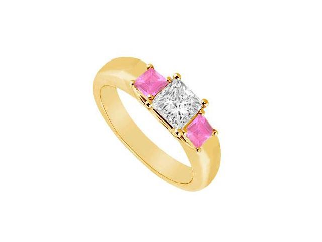 Three Stone Diamond and Pink Sapphire Ring  14K Yellow Gold - 0.33 CT TGW