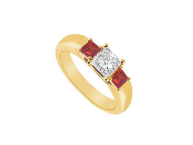 Three Stone Diamond and Ruby Ring  14K Yellow Gold - 0.33 CT TGW