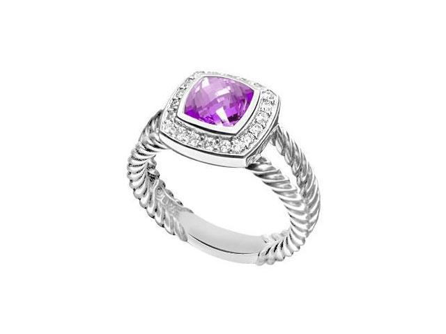 Amethyst and Diamond Rope Ring  14K White Gold - 5.50 CT TGW