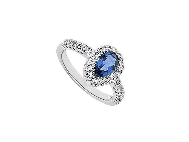 Blue Sapphire Ring Pear Shape with CZ in 10K White Gold Total Gem Weight of 1.85 Carat