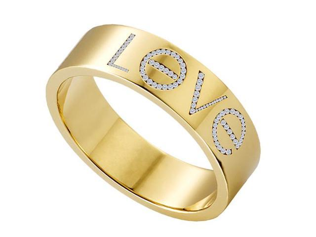 14K Yellow Gold Fashion Love Diamond Ring of One Carat Total Diamond Weight