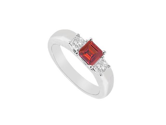 Three Stone Ruby and Diamond Ring  14K White Gold - 0.25 CT TGW