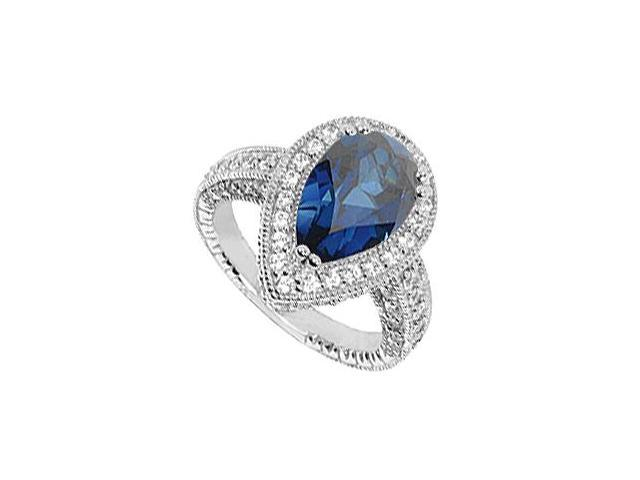 Ring Blue Sapphire Simulated in 10K White Gold CZ Total Gem Weight of 4.25 Carat