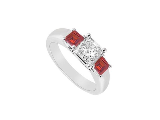 Three Stone Diamond and Ruby Ring  14K White Gold - 0.50 CT TGW