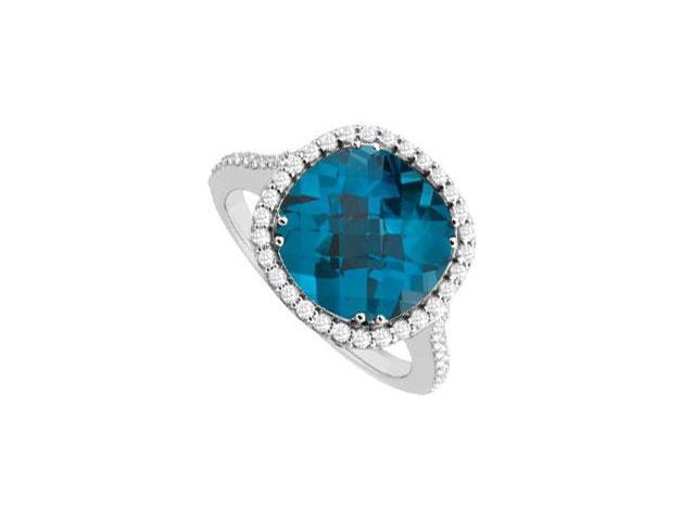 Blue Topaz and Diamond Ring  14K White Gold - 3.50 CT TGW