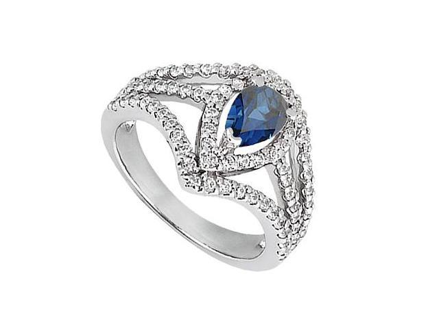 CZ and Blue Sapphire Simulated Ring in 10K White Gold Total Gem Weight of 1.25 Carat