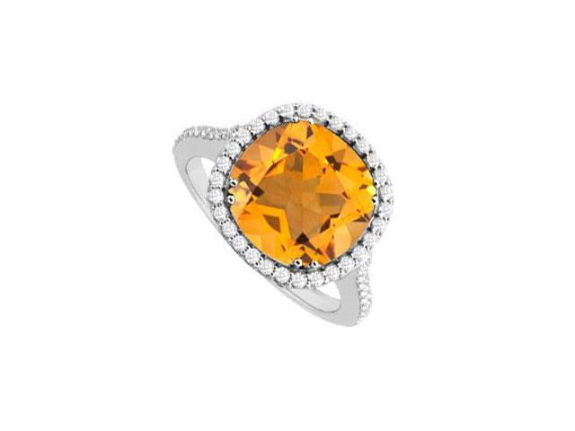 Citrine and Diamond Ring  14K White Gold - 2.50 CT TGW