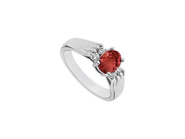 Ruby and Diamond Ring  14K White Gold - 1.25 CT TGW