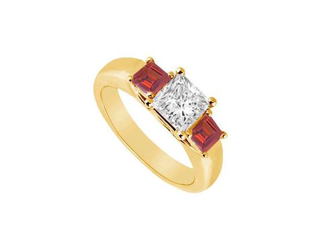 Three Stone Diamond and Ruby Ring  14K Yellow Gold - 0.50 CT TGW