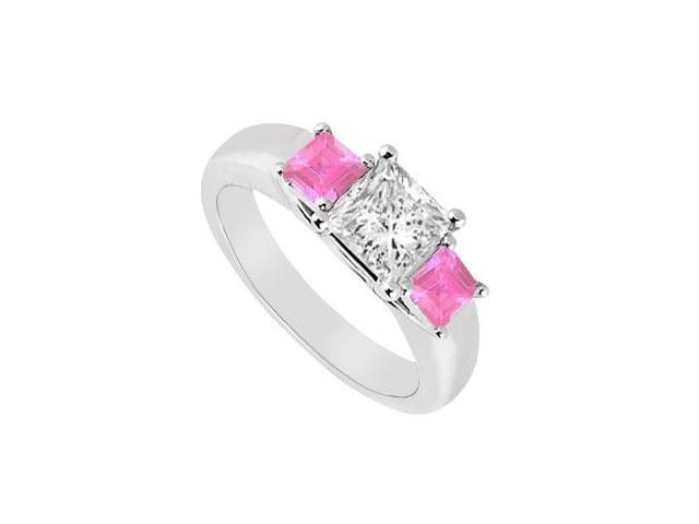 Three Stone Diamond and Pink Sapphire Ring  14K White Gold - 0.50 CT TGW