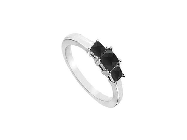14K White Gold  Princess Prong Set Black Diamond Three Stone Ring  1.50 CT TDW