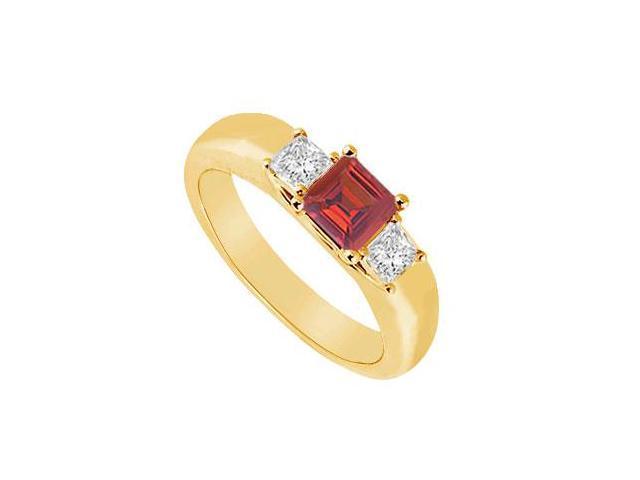 Three Stone Ruby and Diamond Ring  14K Yellow Gold - 0.25 CT TGW