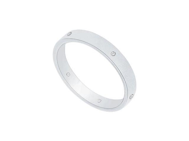 3MM Flat Wedding Band with Diamonds  Platinum - 0.05 CT TDW