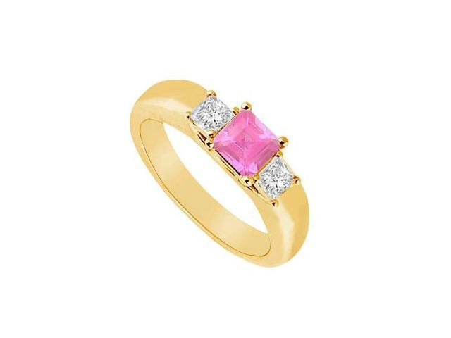 Three Stone Pink Sapphire and Diamond Ring  14K Yellow Gold - 0.25 CT TGW