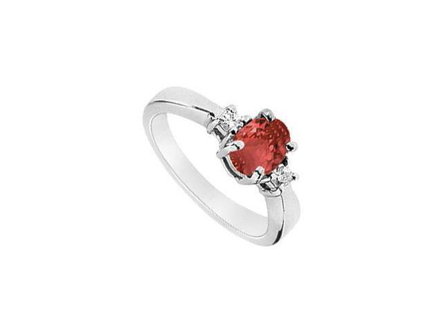 Ruby and Diamond Ring  14K White Gold - 1.10 CT TGW