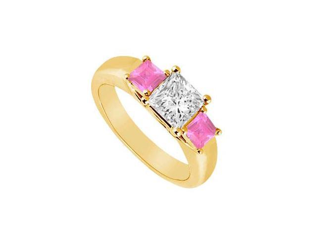 Three Stone Diamond and Pink Sapphire Ring  14K Yellow Gold - 0.50 CT TGW