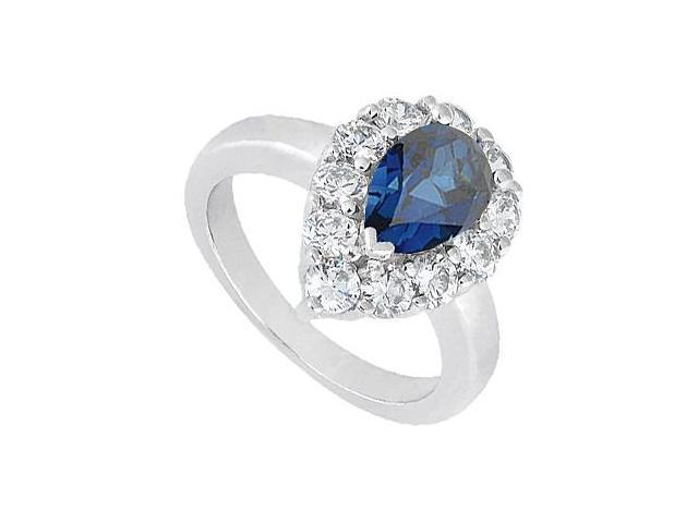Blue Sapphire September Birthstone Ring with CZ in 10K White Gold 2.50 Carat Total Gem Weight