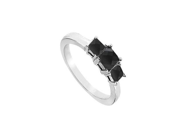 14K White Gold  Princess Prong Set Black Diamond Three Stone Ring  2.00 CT TDW