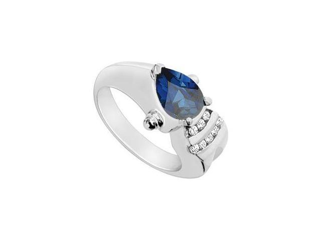2 Carat Blue Sapphire Pear Shape Ring with CZ in 10K White Gold 2.25 Carat Total Gem Weight