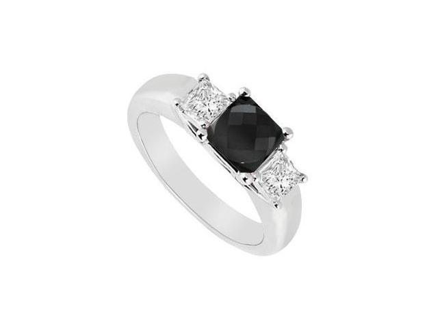 14K White Gold  Princess Prong Set Black and White Diamond Three Stone Ring  0.50 CT TDW