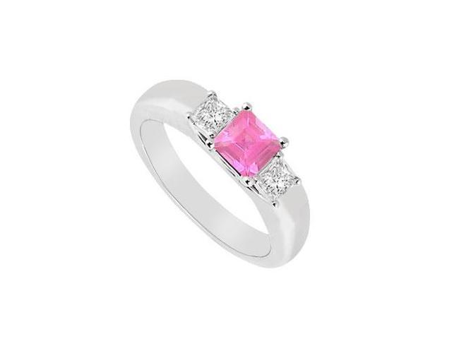 Three Stone Pink Sapphire and Diamond Ring  14K White Gold - 0.25 CT TGW