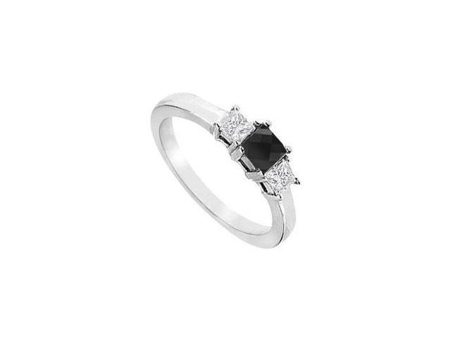 14K White Gold  Princess Prong Set Black and White Diamond Three Stone Ring  1.00 CT TDW
