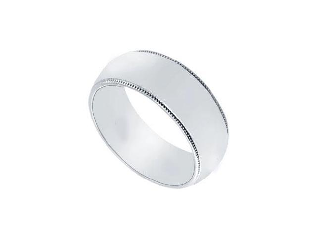 Platinum 7MM Non-Comfort Fit Milgrain Wedding Band