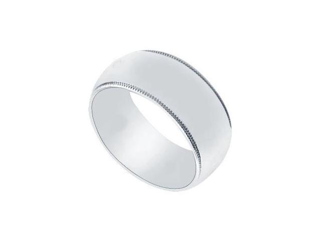 Platinum 8MM Non-Comfort Fit Milgrain Wedding Band