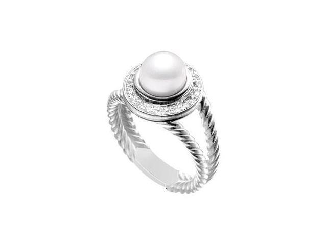 Cultured White Akoya Pearl and Diamond Rope Ring  14K White Gold - 0.25 CT Diamonds
