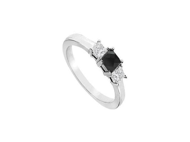 14K White Gold  Princess Prong Set Black and White Diamond Three Stone Ring  1.50 CT TDW
