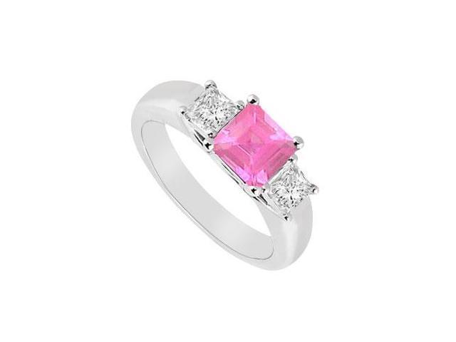 Three Stone Pink Sapphire and Diamond Ring  14K White Gold - 0.50 CT TGW