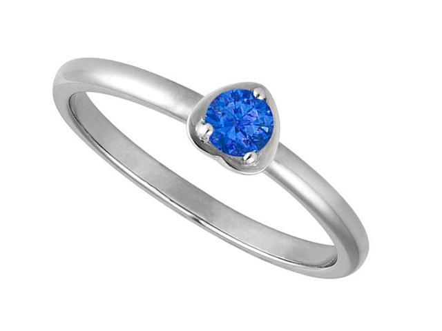 14K White Gold Heart Shape Ring with Round Reconstituted Sapphire of 1 Carat