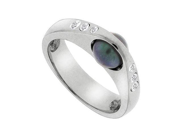 Black Cultured Pearl and Diamond Ring  14K White Gold - 0.12 CT Diamonds
