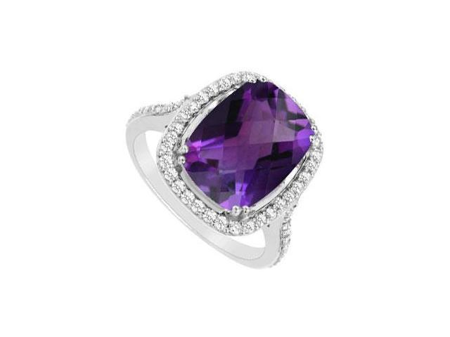 Amethyst and Cubic Zirconia Ring  .925 Sterling Silver - 9.00 CT TGW