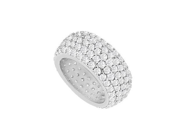 Pave Set Diamond Eternity Band in Five Row 14K White Gold 2.75 Carat Diamonds