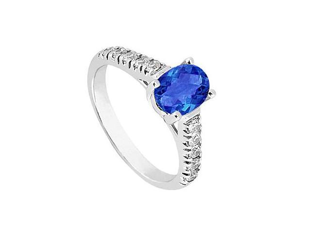 14K White Gold Fashion Ring of Simulated Blue Sapphire and Triple AAA Quality CZ 1 Carat