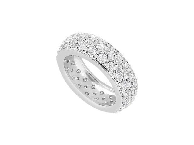 14K White Gold Pave Diamonds Three Row Eternity Wedding Band 1.75 Carat Diamonds