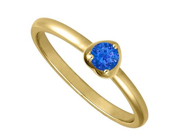 14K Yellow Gold Heart Shape Ring with Round Simulated Sapphire of 1 Carat
