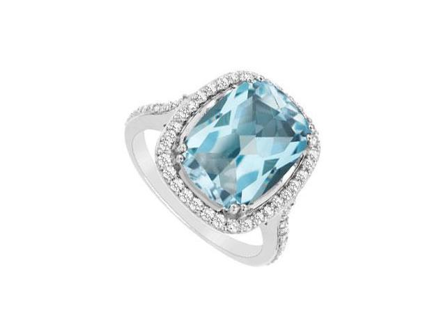 Blue Topaz and Diamond Ring  14K White Gold - 9.00 CT TGW