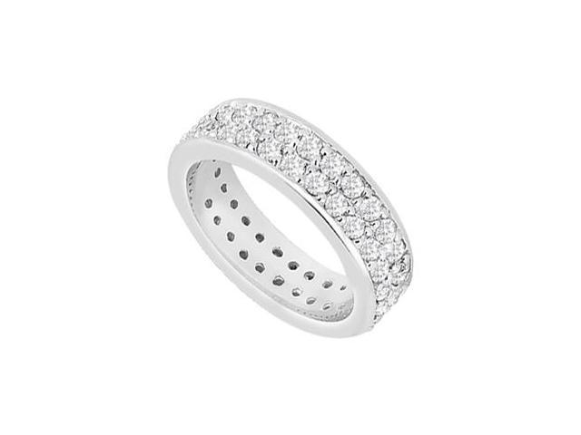 Two Row Diamond Eternity Wide Wedding Band in 14K White Gold 1.75 Carat Diamonds