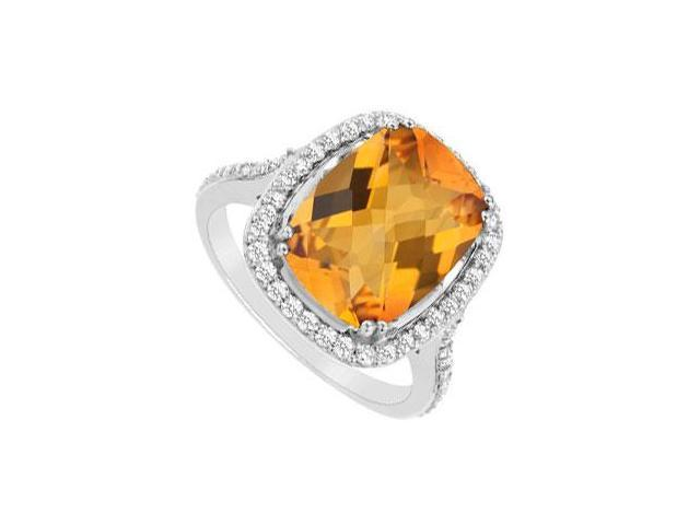 Citrine and Cubic Zirconia Ring  .925 Sterling Silver - 9.00 CT TGW