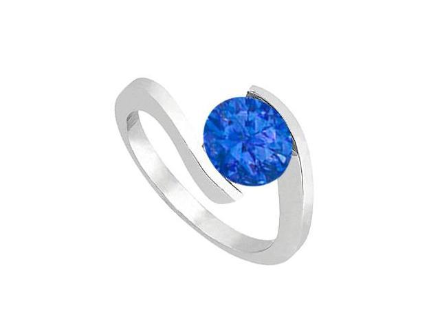 Fashion One Carat Natural Blue Sapphire Solitaire Ring in 14K White Gold Finish