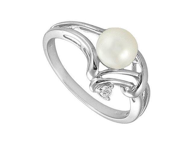 Cultured Pearl and Diamond Ring  14K White Gold - 0.02 CT Diamonds