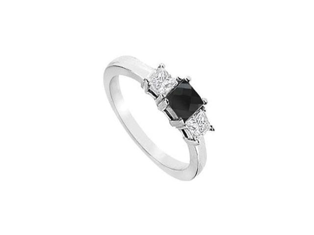 14K White Gold  Princess Prong Set Black and White Diamond Three Stone Ring  2.00 CT TDW