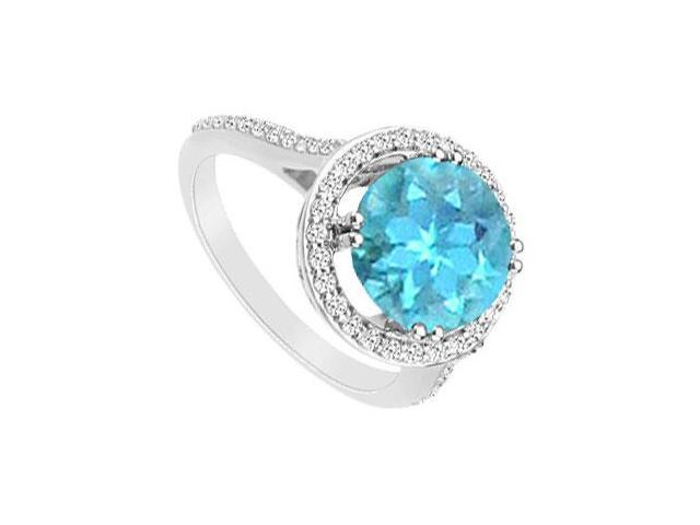 Blue Topaz and Cubic Zirconia Ring  .925 Sterling Silver - 1.25 CT TGW