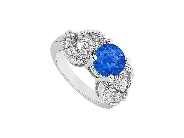 Fashion Simulated sapphire Ring with Heart CZ Side in 14K White Gold Total Gem Weight 2.50 Carat