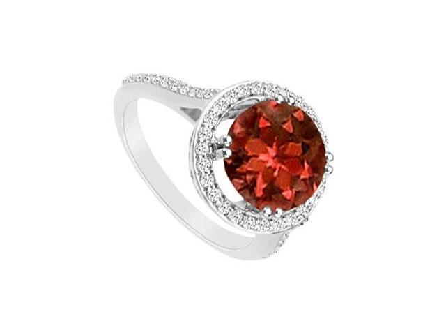 Garnet and Cubic Zirconia Ring  .925 Sterling Silver - 1.25 CT TGW